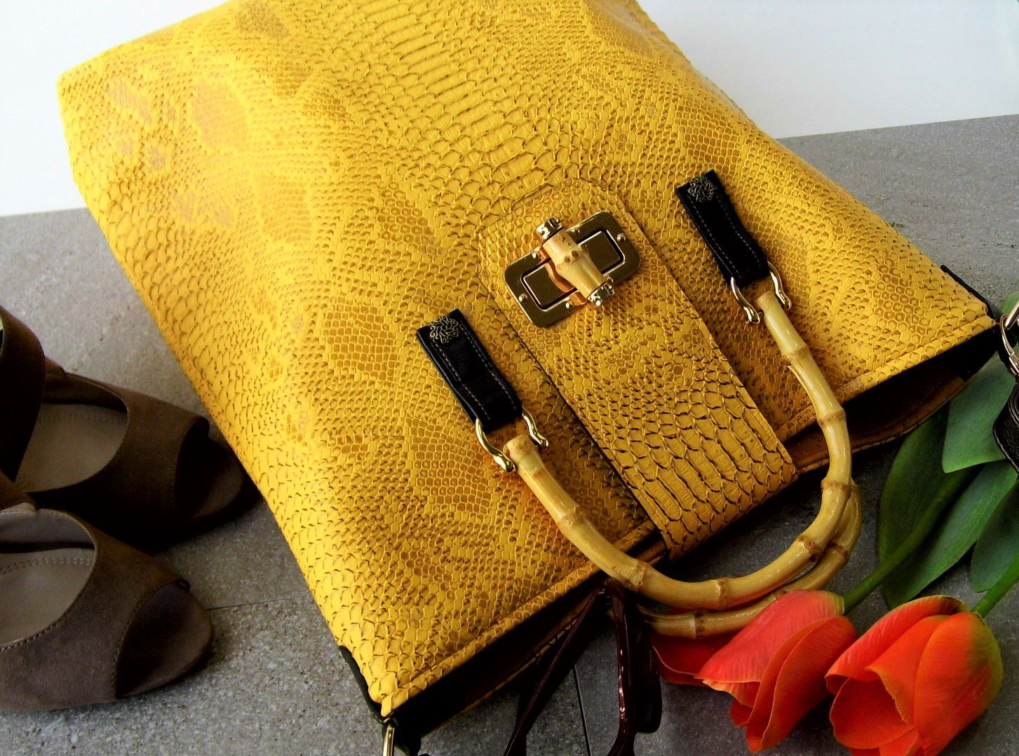 birthday graduation bag leather vegan gift tote handles crocodile reptile weekend faux mustard large work yellow bamboo