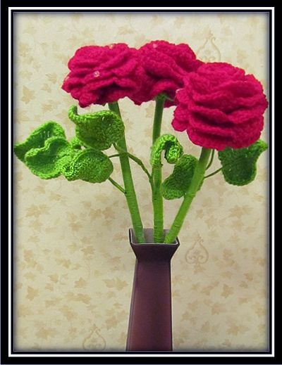 rose pattern textile crochet goods