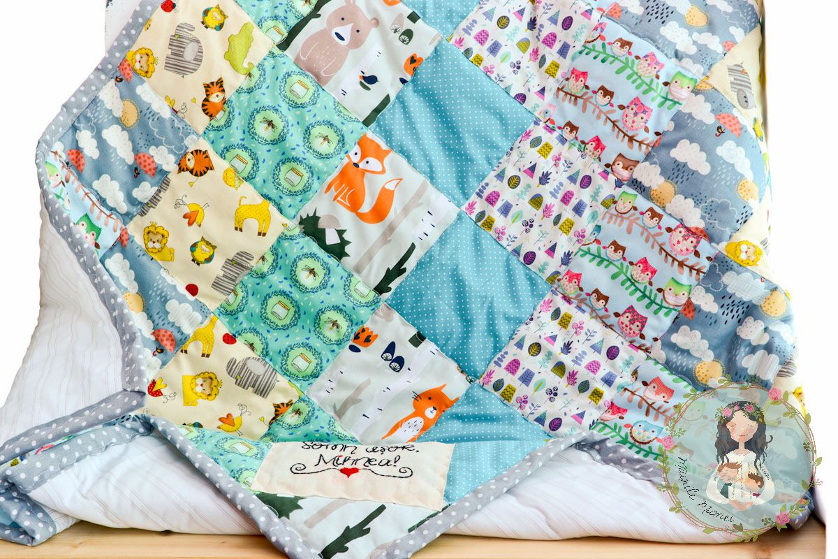 unique baby crib gift personalized patchwork custom newborn blanket receiving shower quilt