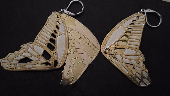 real engraved gift earrings butterfly jewelry metal wings brass silverplated