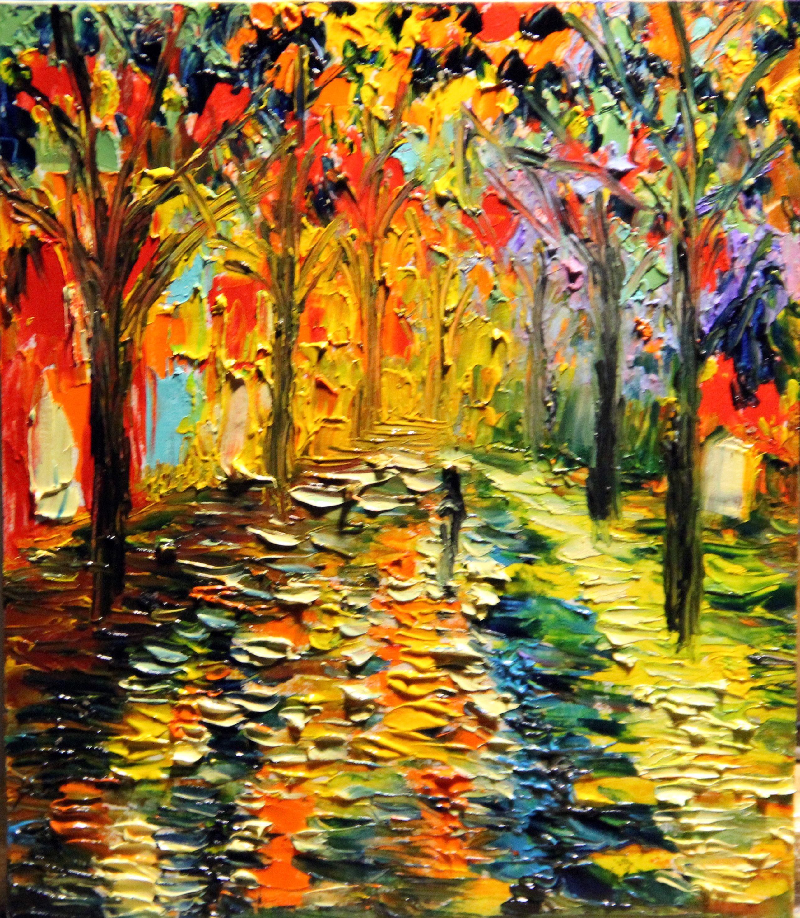 oil painting landscape autumn canvas park art