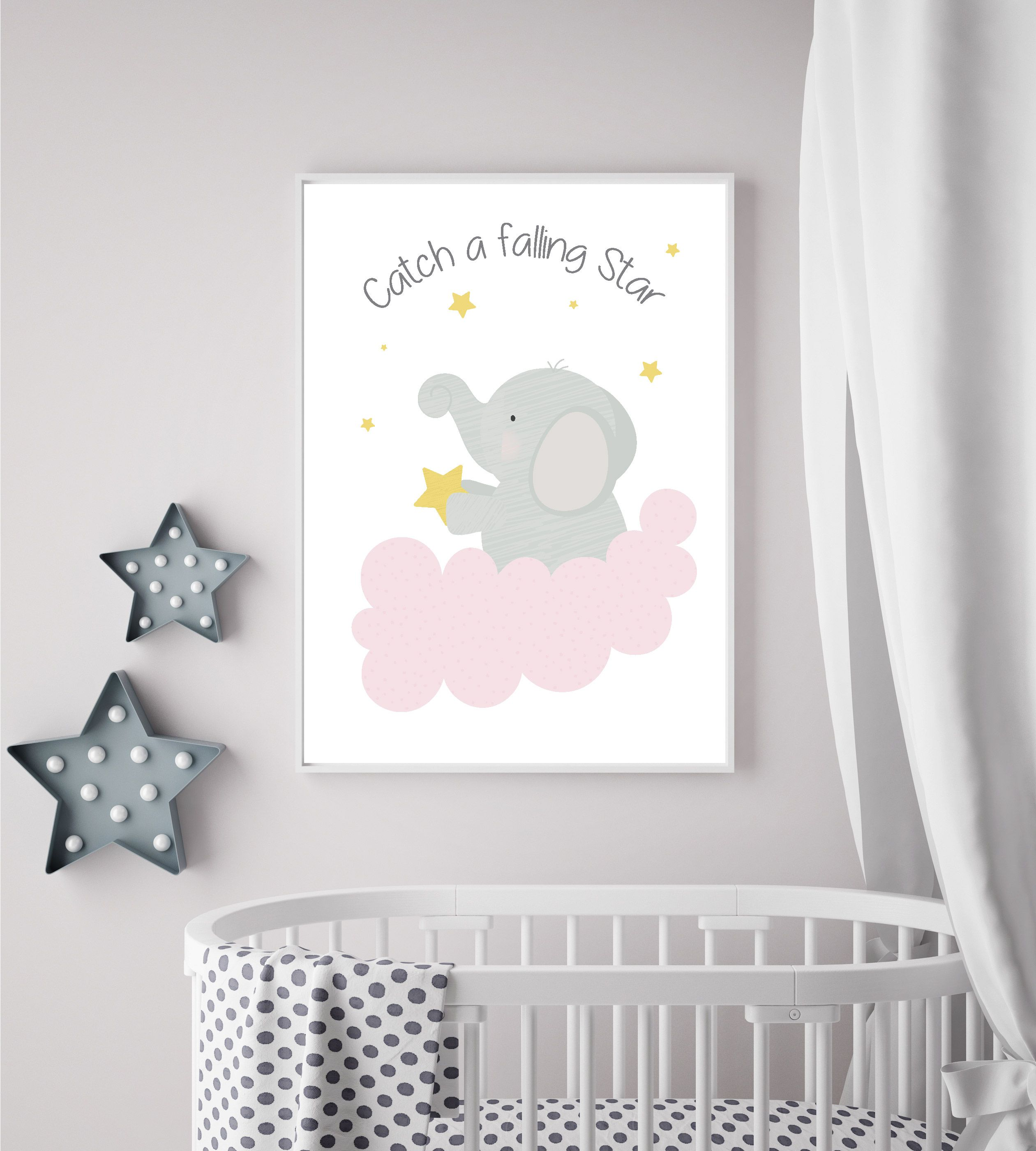 Catch A Falling Star Elephant Playroom Print Nursery