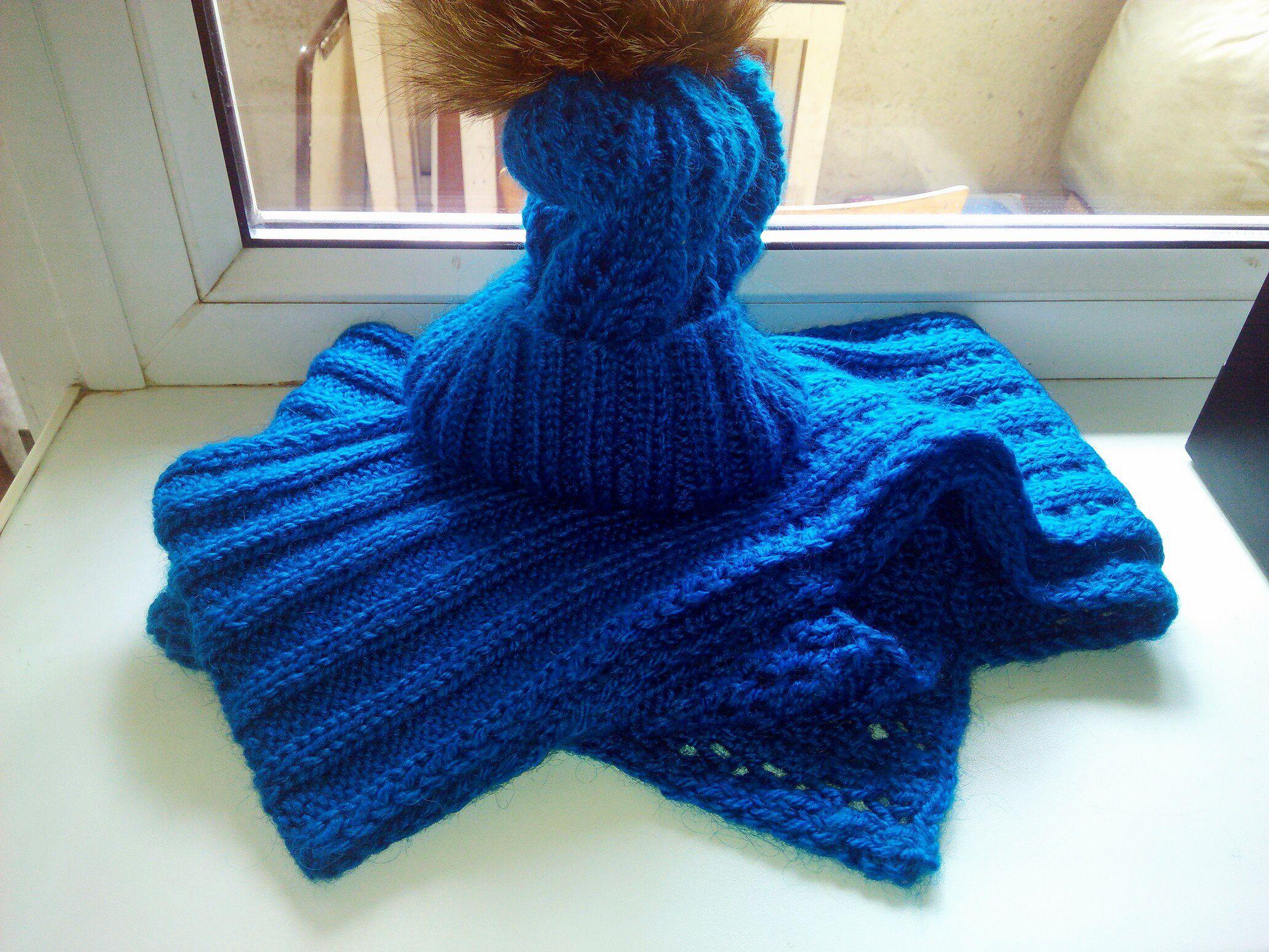 clothes hat scarf winter fur blue