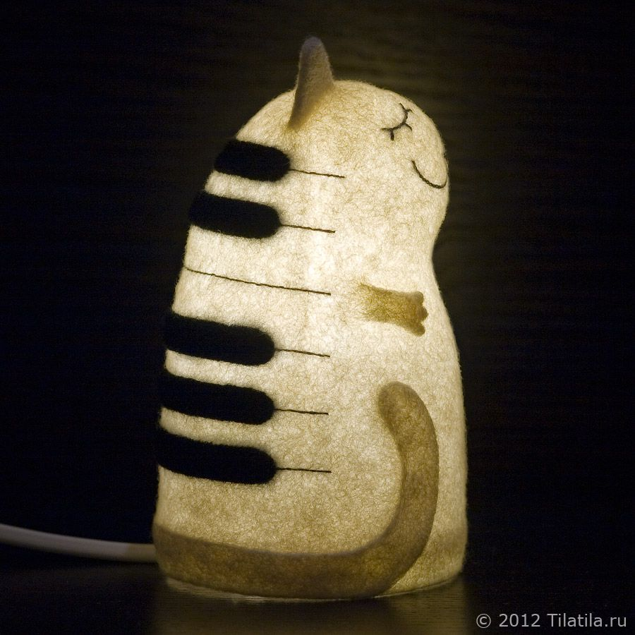 felt white nightlight cat black keyboard lamp musician music