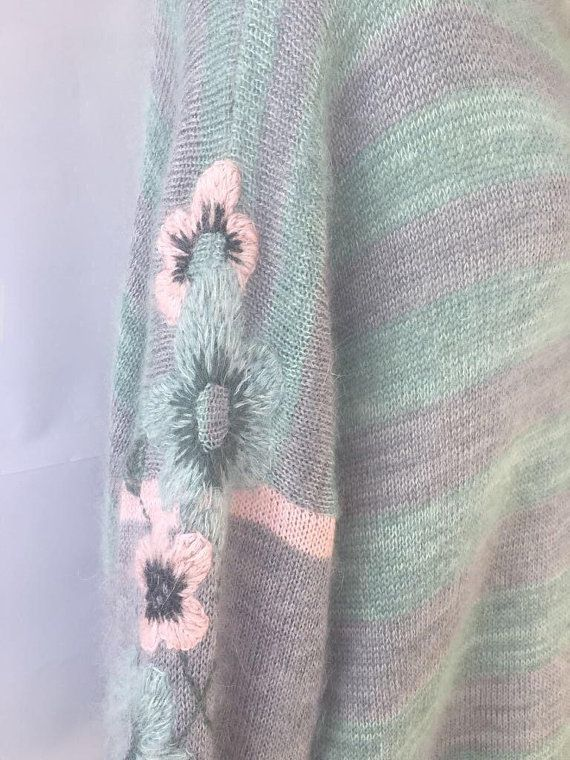 striped pink mint long sweater knit cashmere dress embroidered floral turtleneck oversized maxi pastel mohair