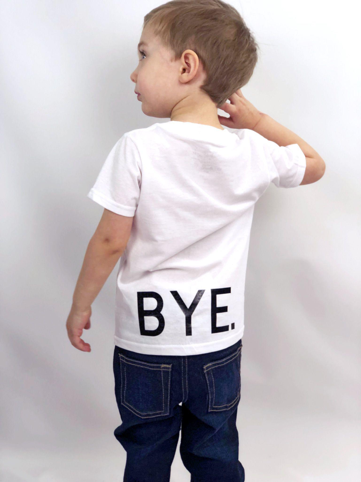 boy girl greeting bye tee