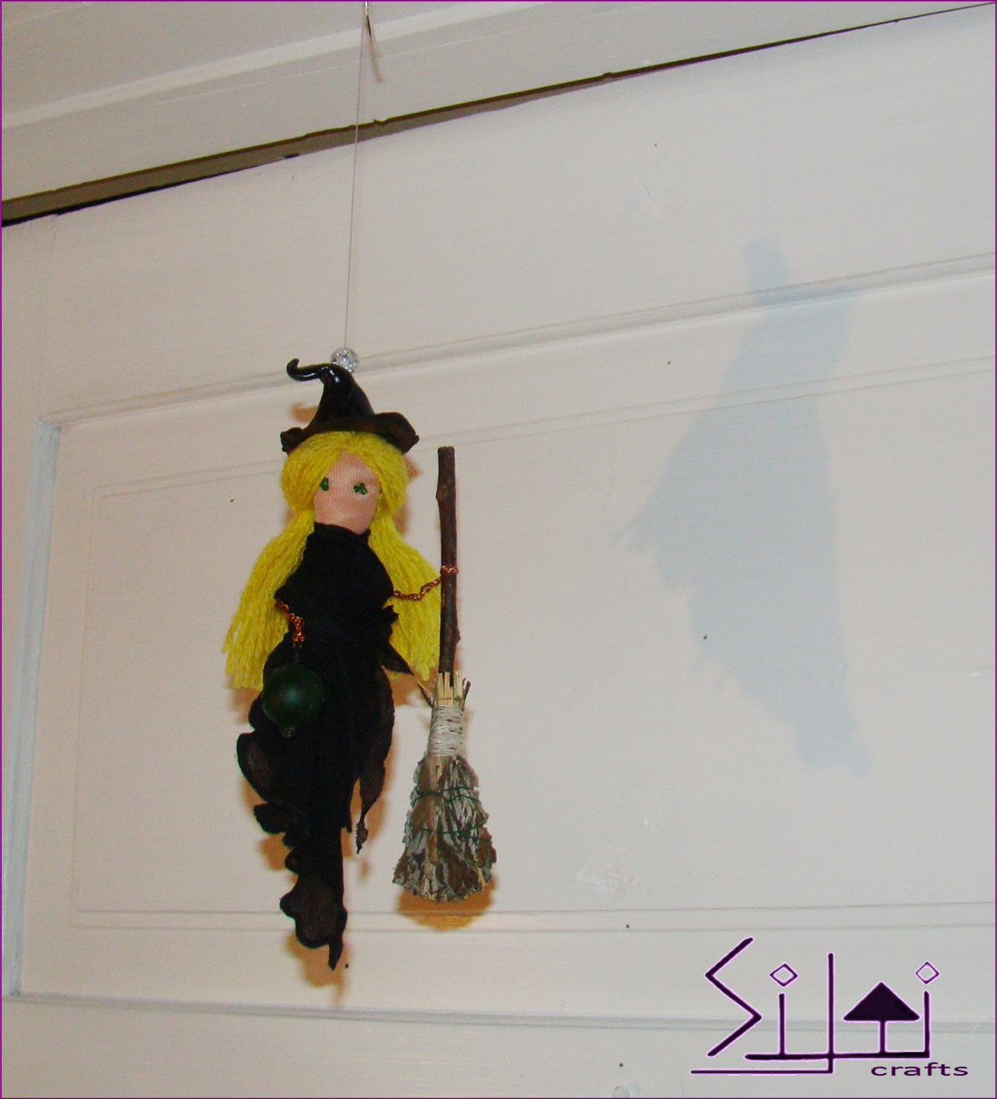 magic halloween cute decor moon black witch hanging mobile rustic upcycled magical hanger witchdecor farmhouse