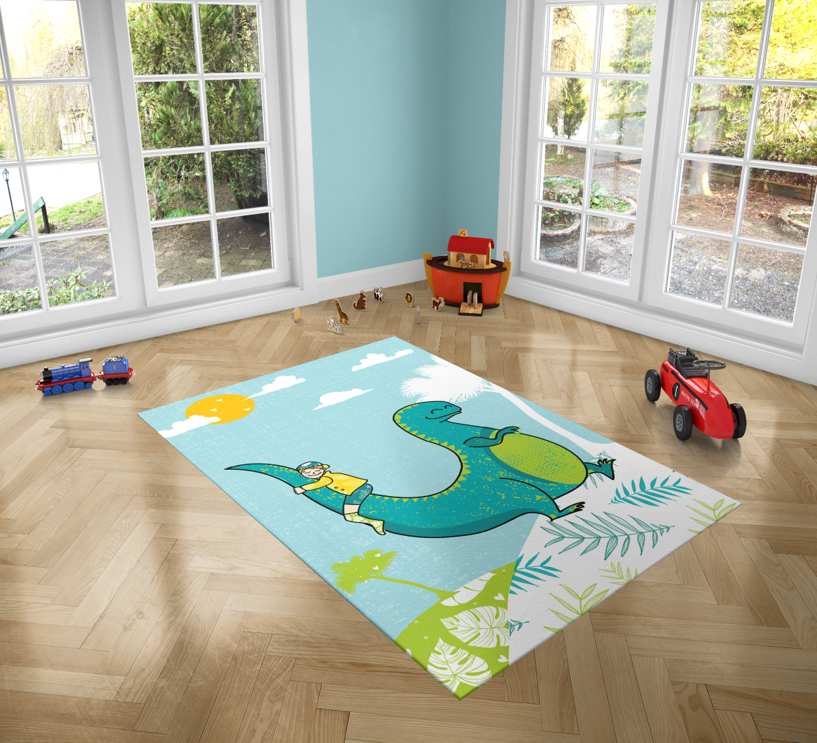 Dinosaur Love Pvc Carpet Print Kids Room Decor Boys Carpets Nursery Art Gift For Ilration