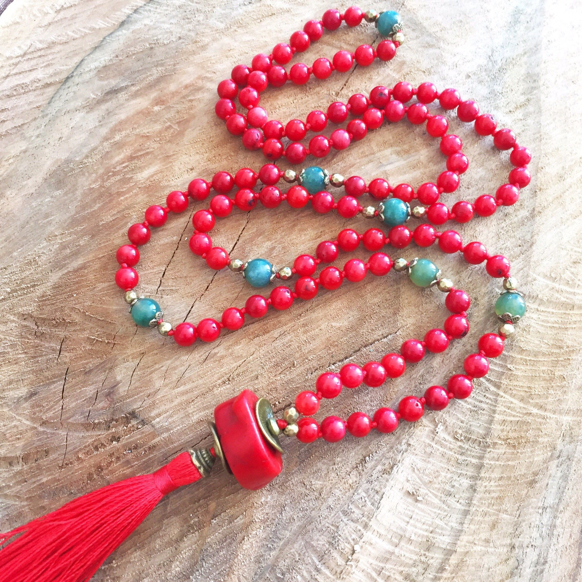 coral red necklace tassel 108bead