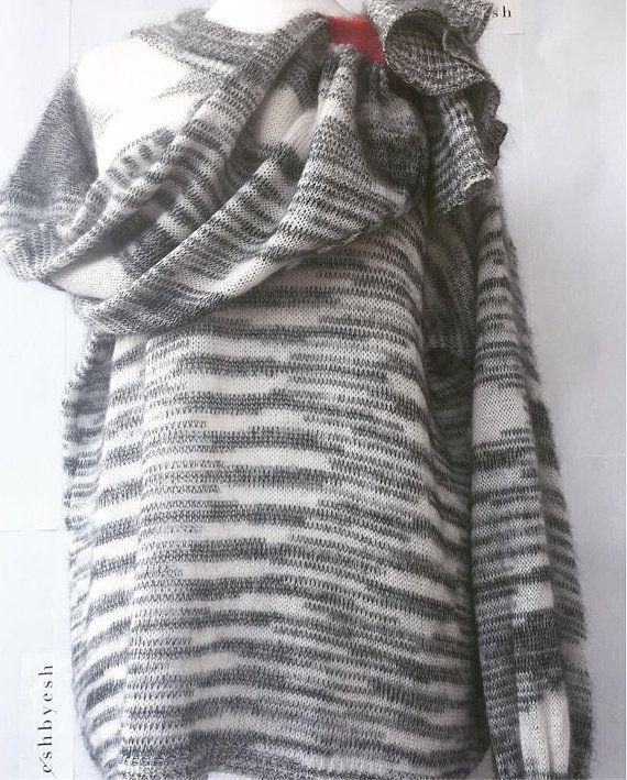 designer gray sweater ruffle knit melange knitwear loose oversized pullover neck