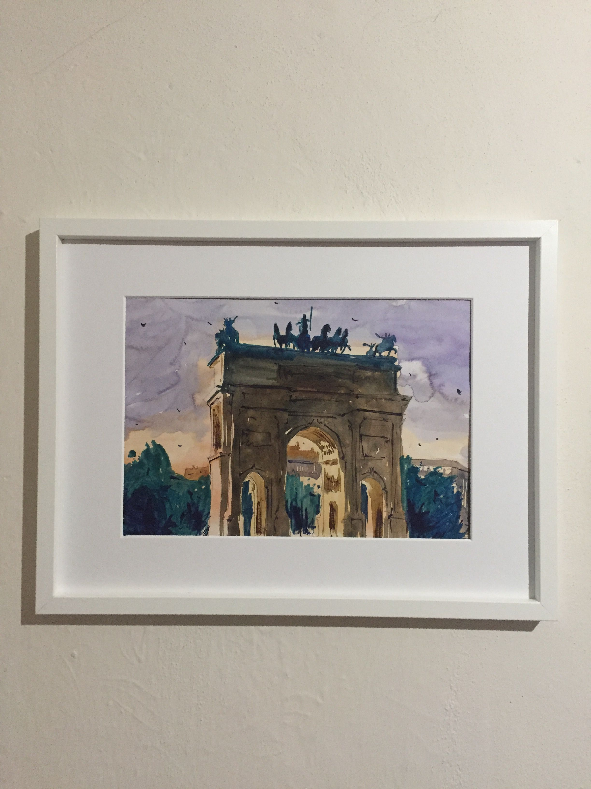 original architecture milan decor decoration watercolour aquarelle wall italy watercolor drawing painting art