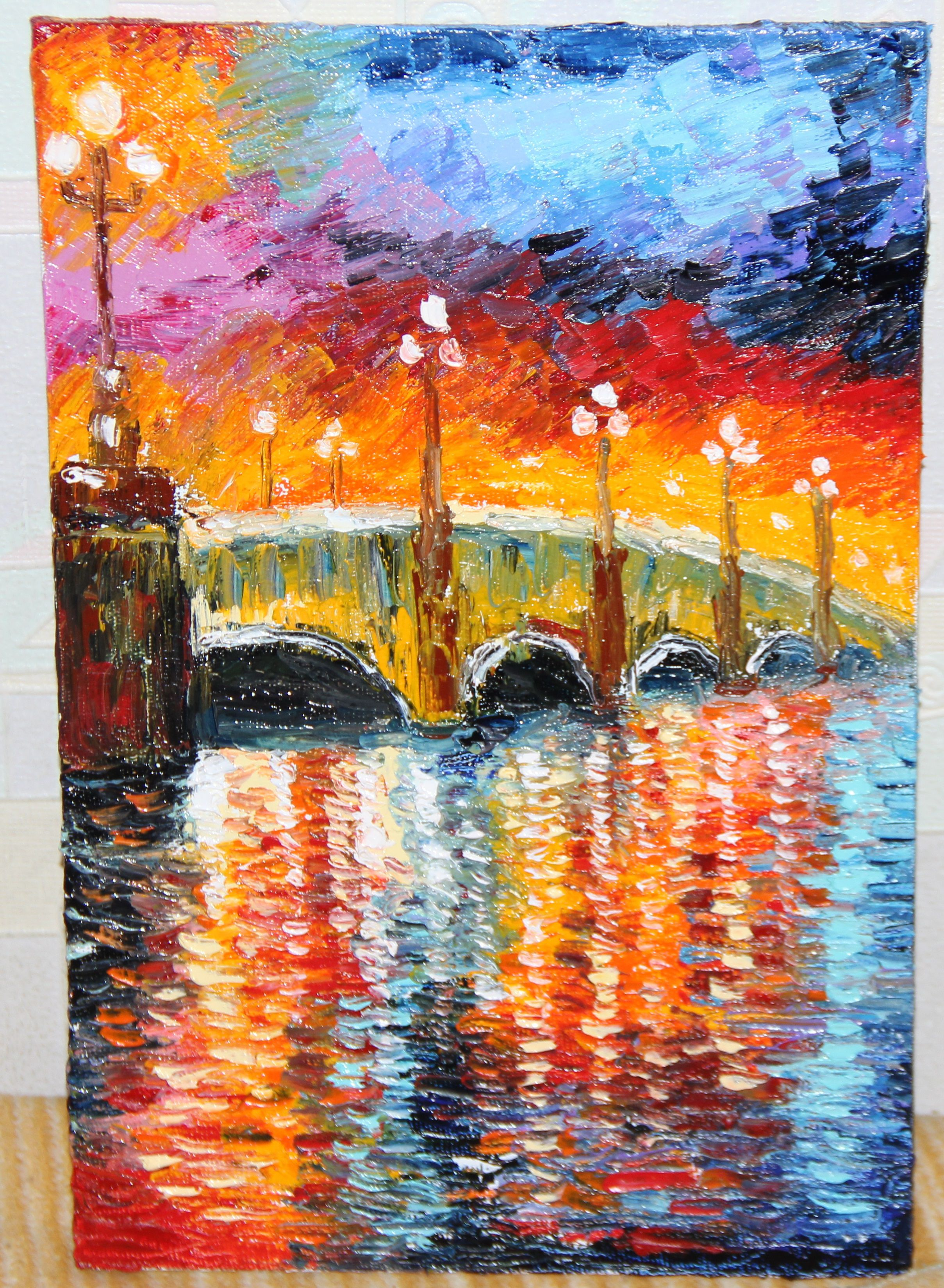 landscape oilpainting picture canvas river bridge