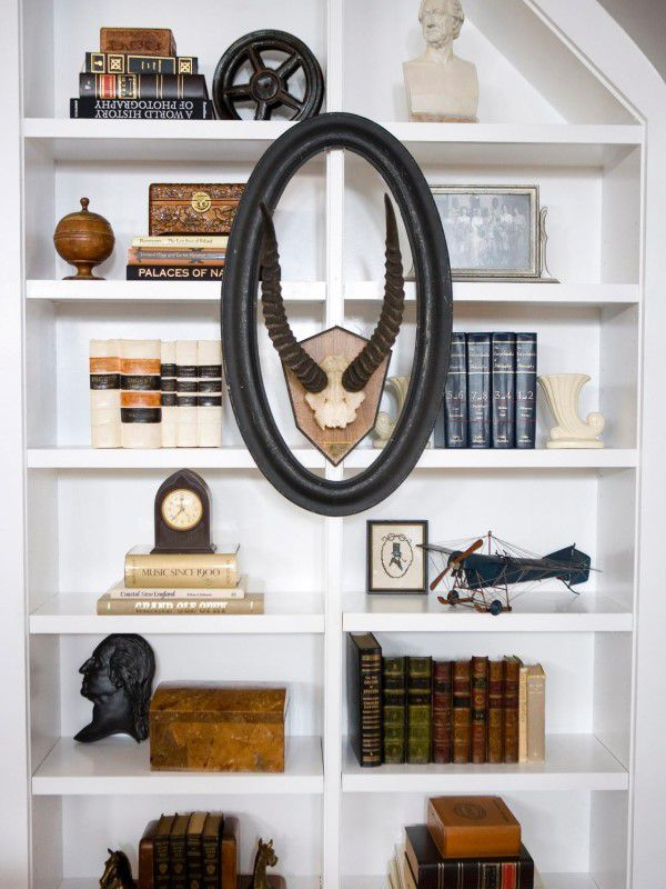 asymmetry functional bookshelves decorate interior