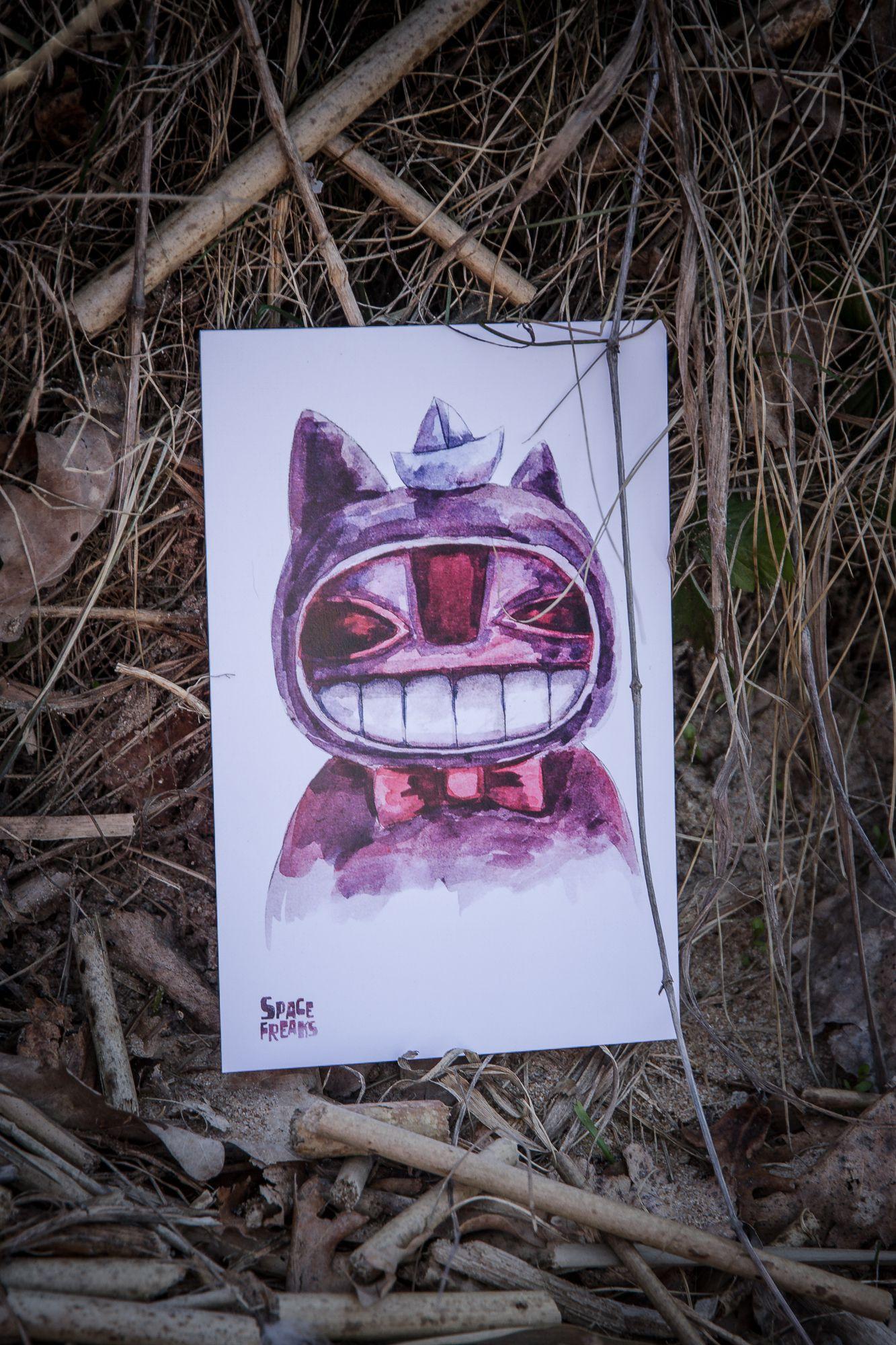 handmade gift postcard kraft smile purple