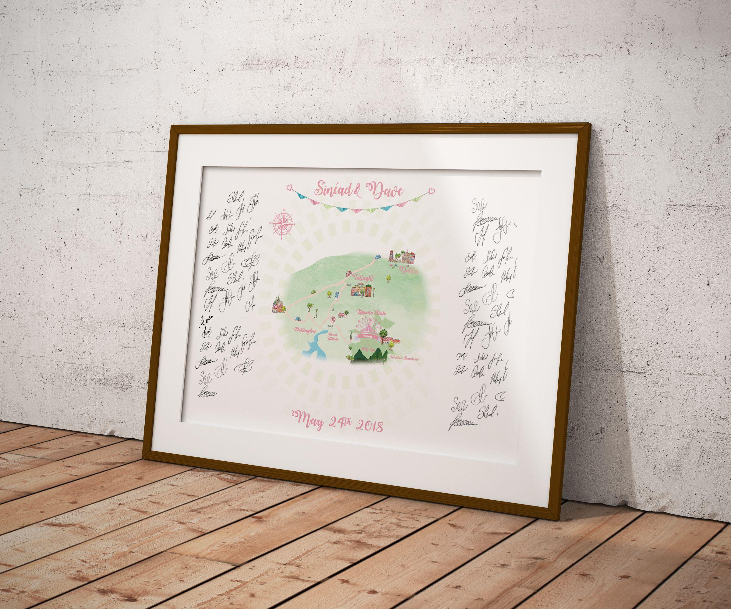 gift wedding illustration guestbook