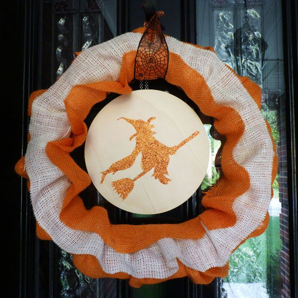 witch halloween decor holiday wreath house burlap decorations
