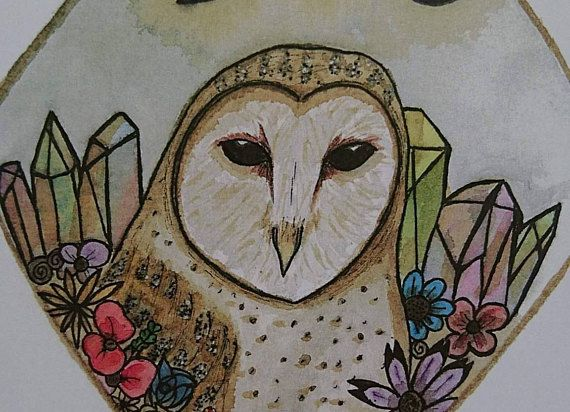 ink etsy witch illustration wicca decoration cute coffee familiar watercolor pagan animal owl drawing witchy painting artwork