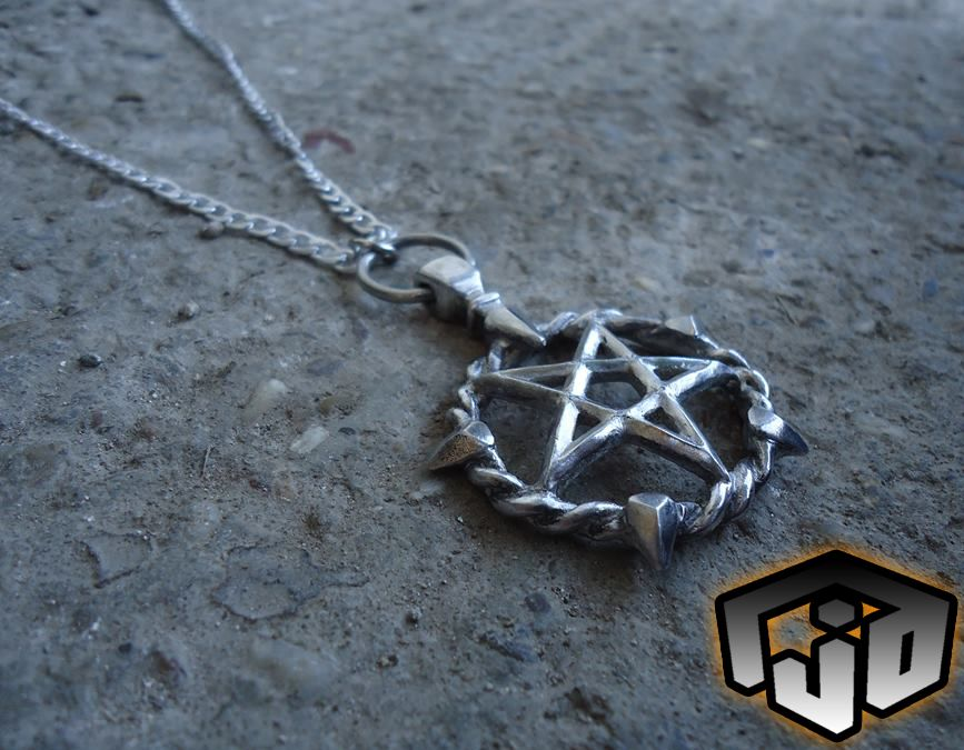 Silver Pentagram Necklace Pentagram Pendant Withches Pentagram Satanic Necklace