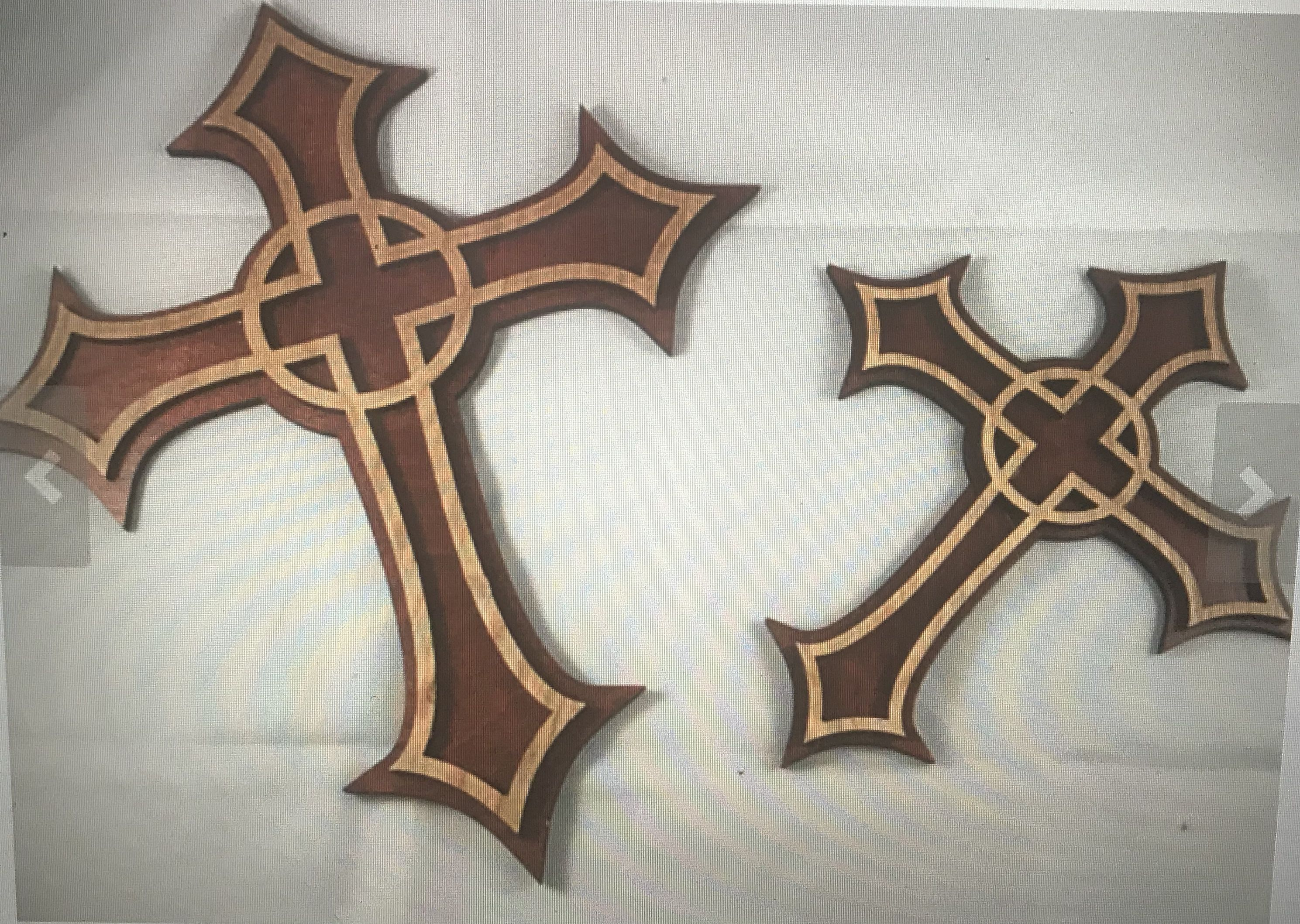 two engraved toned laser crosses