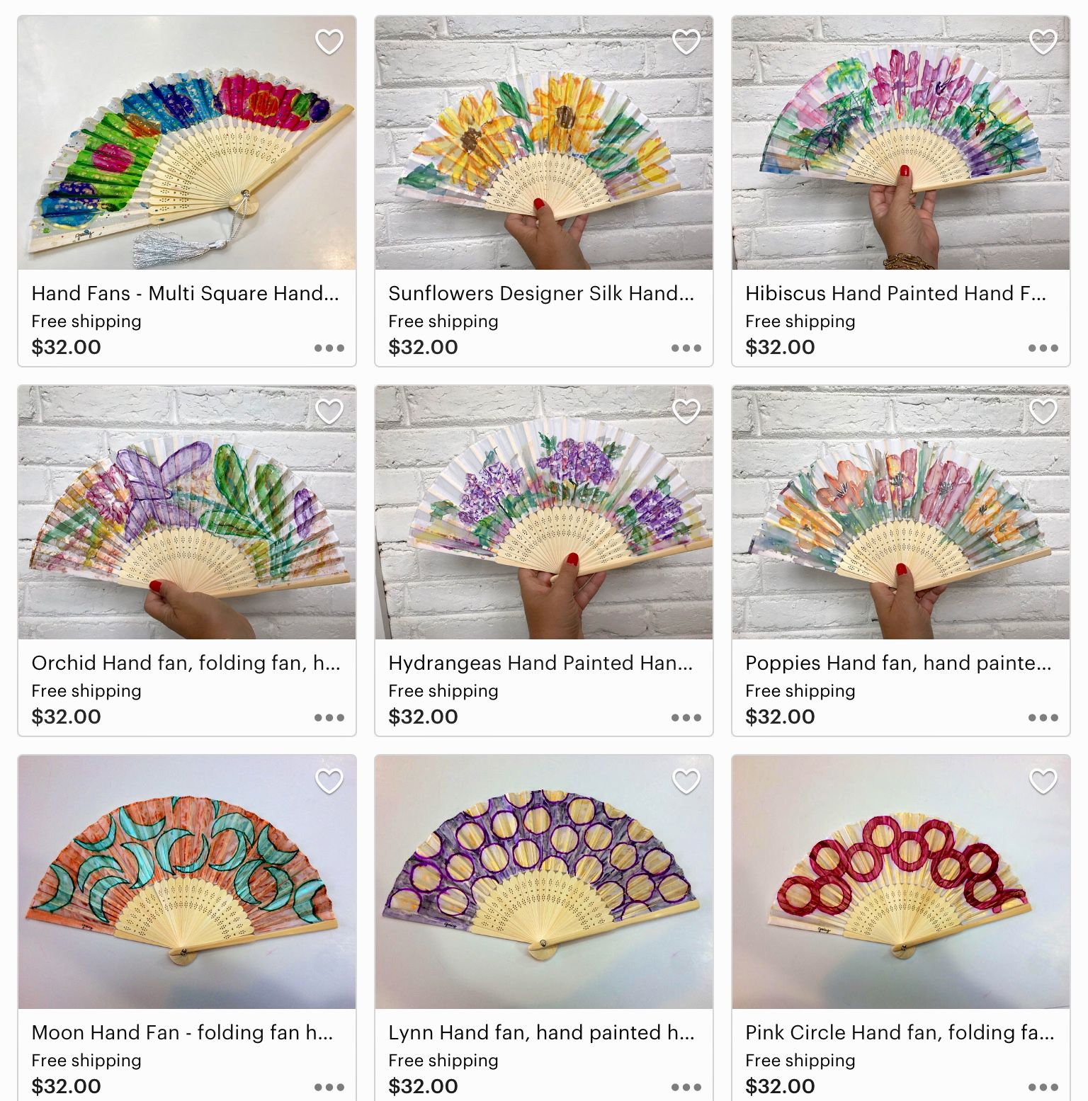 painted hand folding wedding fans