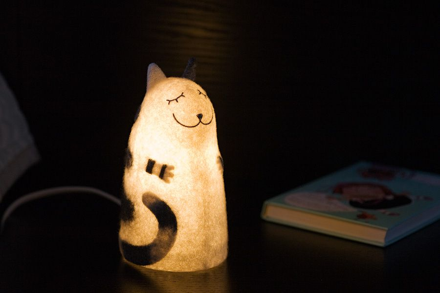 felt white nightlight cat stripped lamp grey