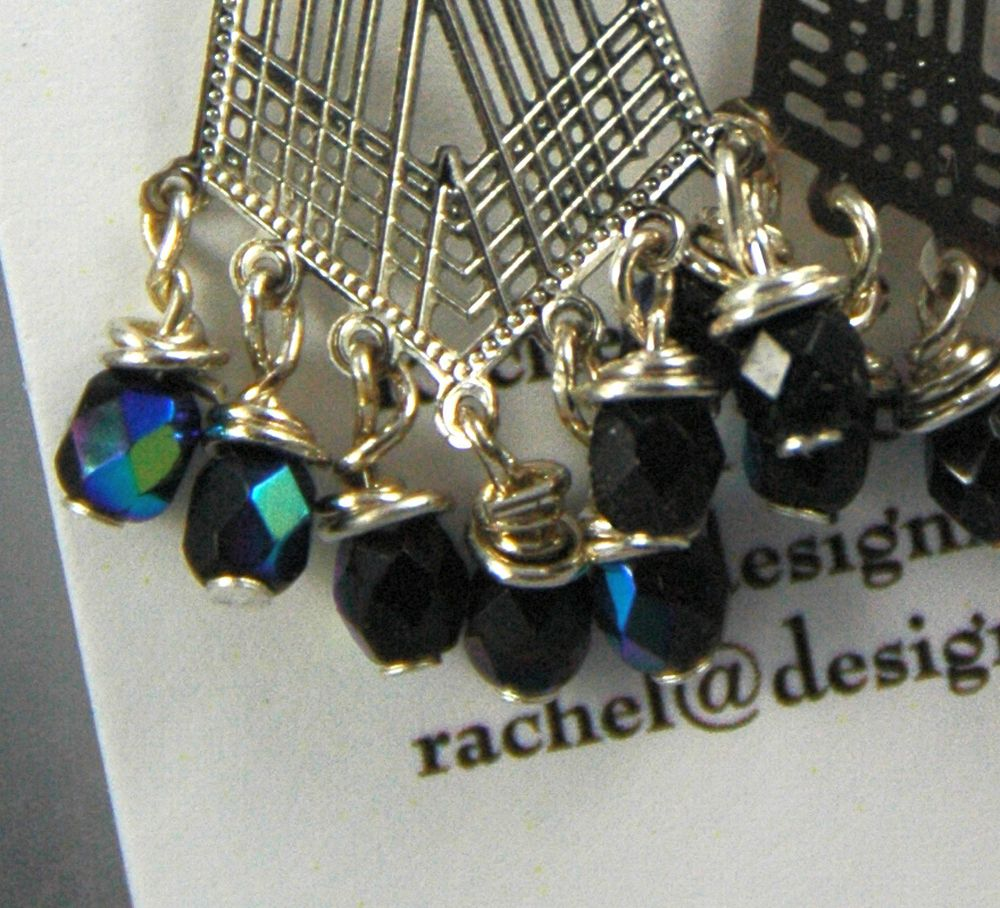 silver crystal lace earrings wire jewelry black wrapping lazer