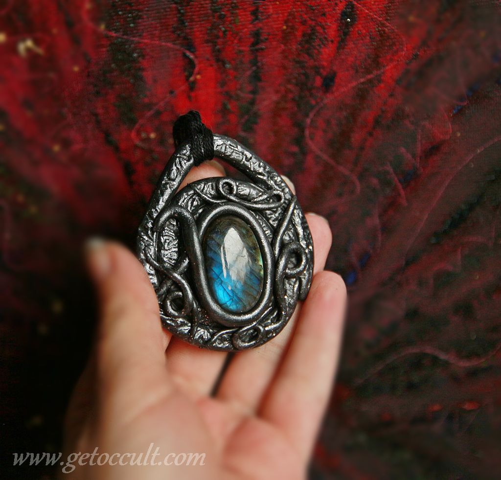 witch unique wicca spiral magic occult labradorite pagan amulet gothic