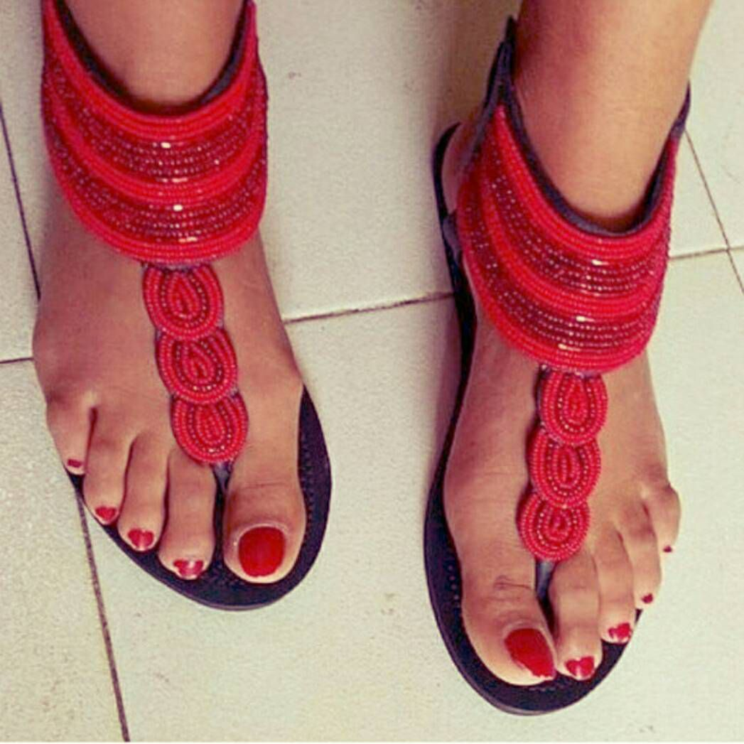 leather women beads sandals for