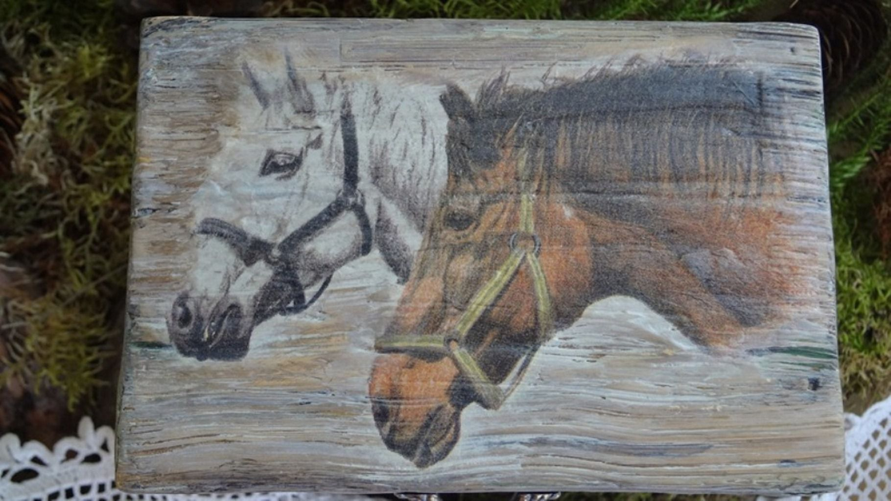 handmade wood casket old horses imitation