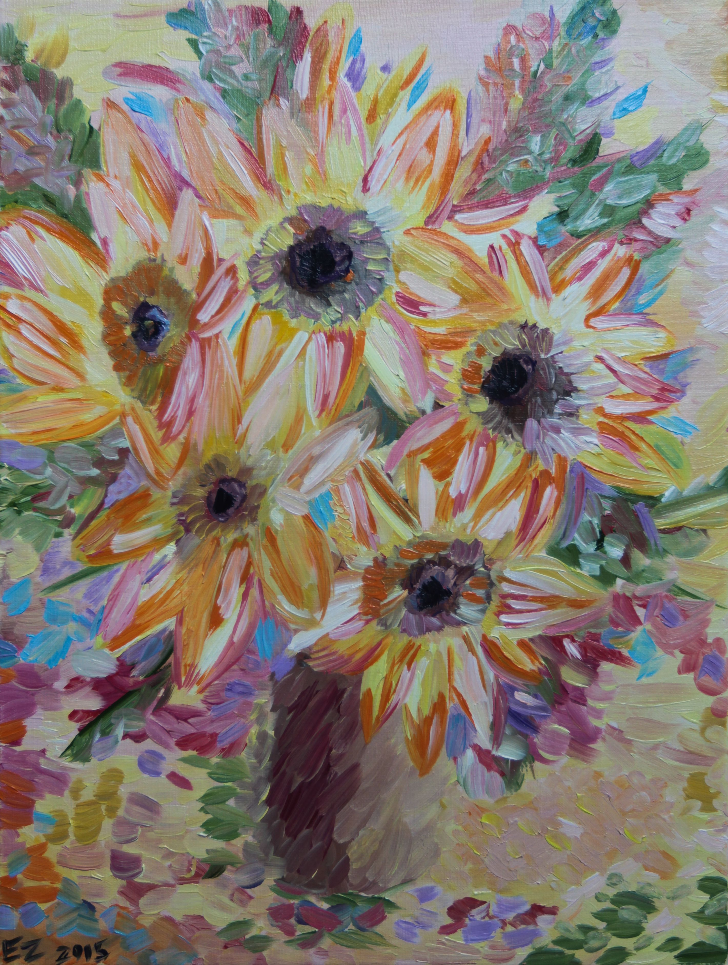flowers painting oil