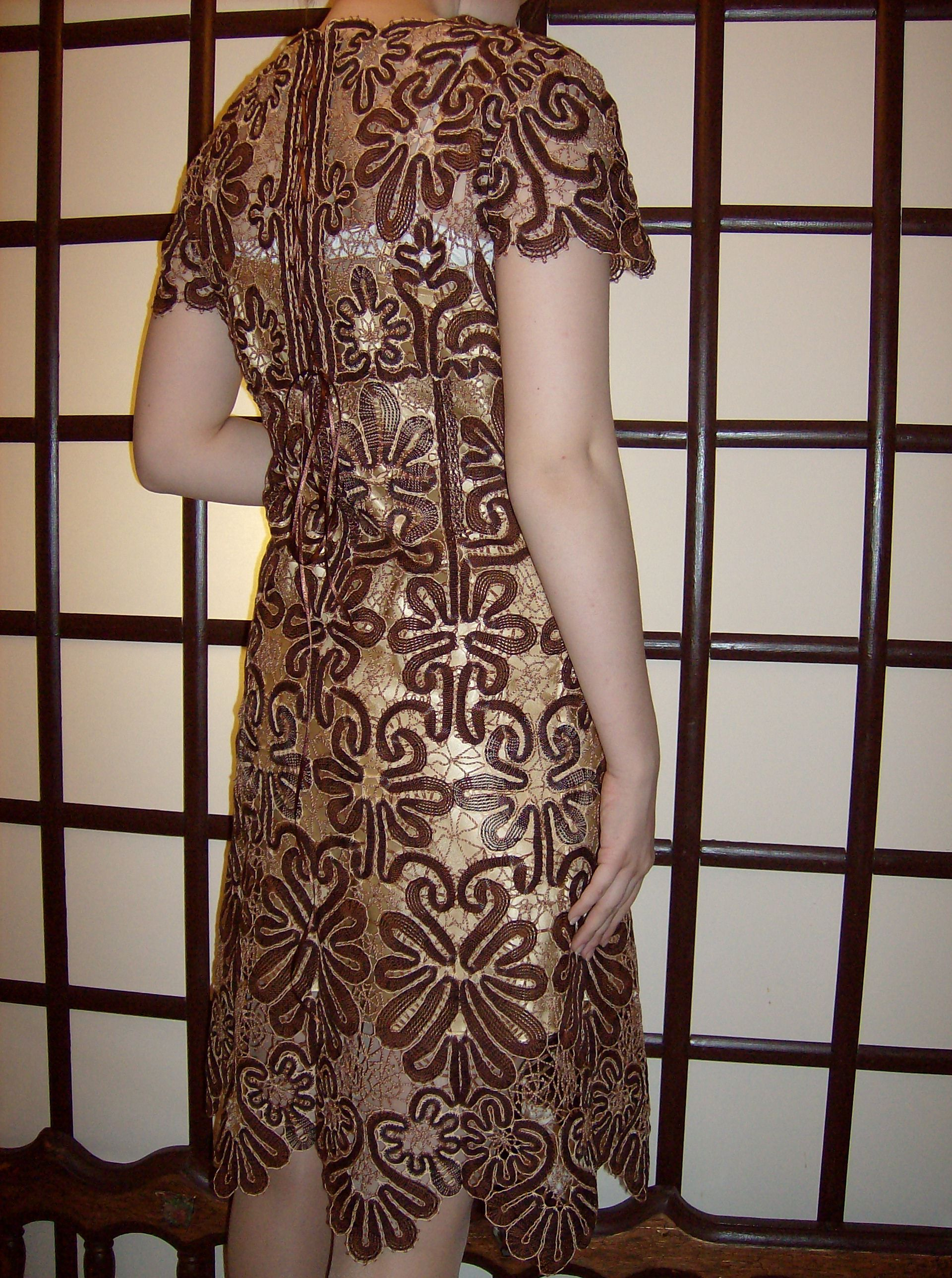 clothes knitting bobbines dress beige lace
