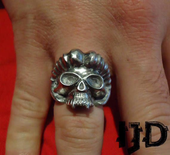 demon vampire satanist black lucifer head goat jewelry devil metal silver pagan ring gothic