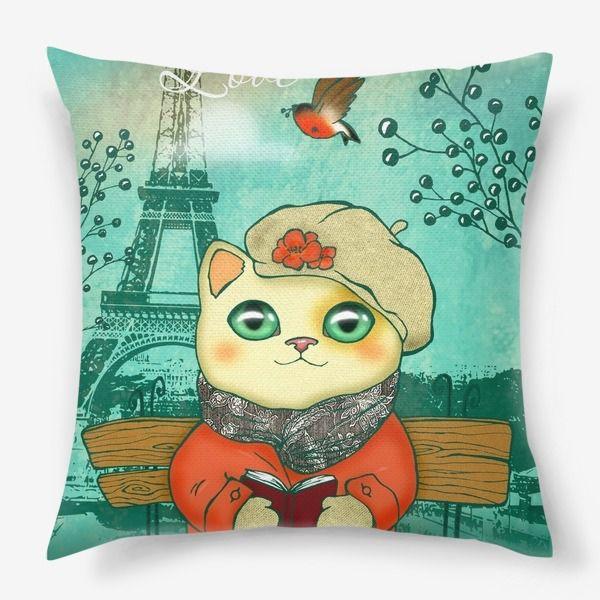 paris cat pillow kitten love