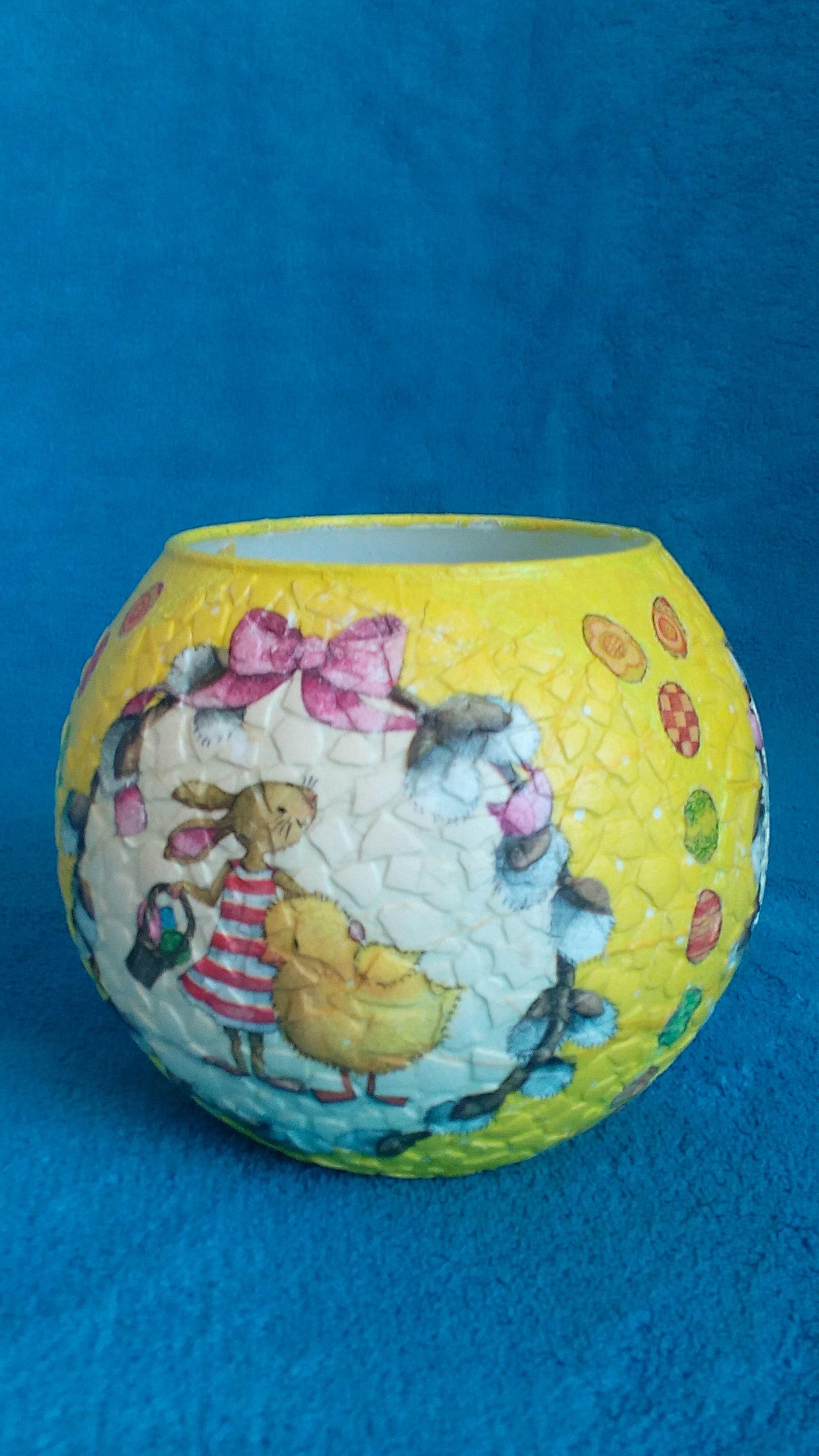 vase yellow interior bunny decoupage