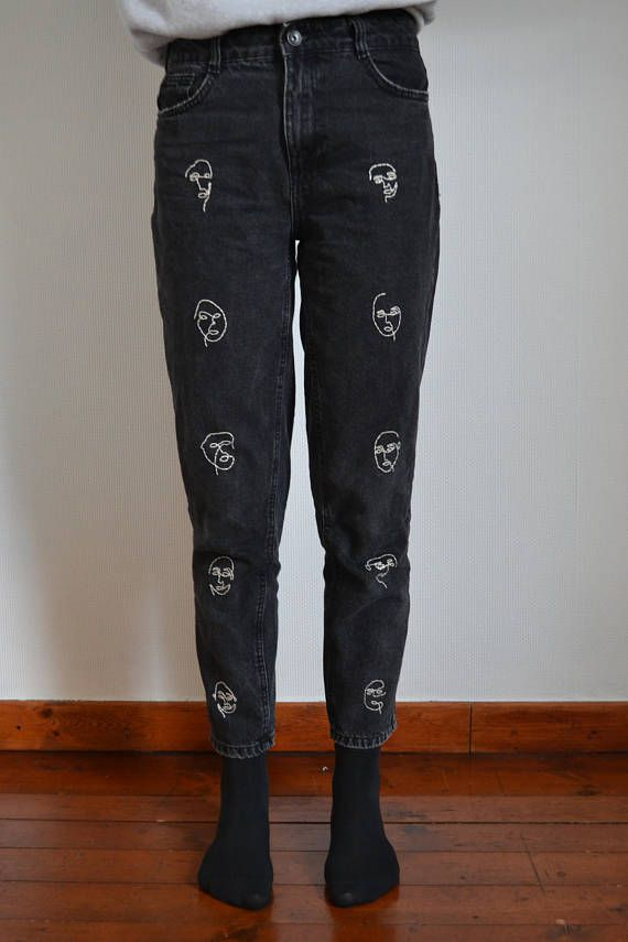 white black young mode oneline embroidered new modern faces jeans embroidery