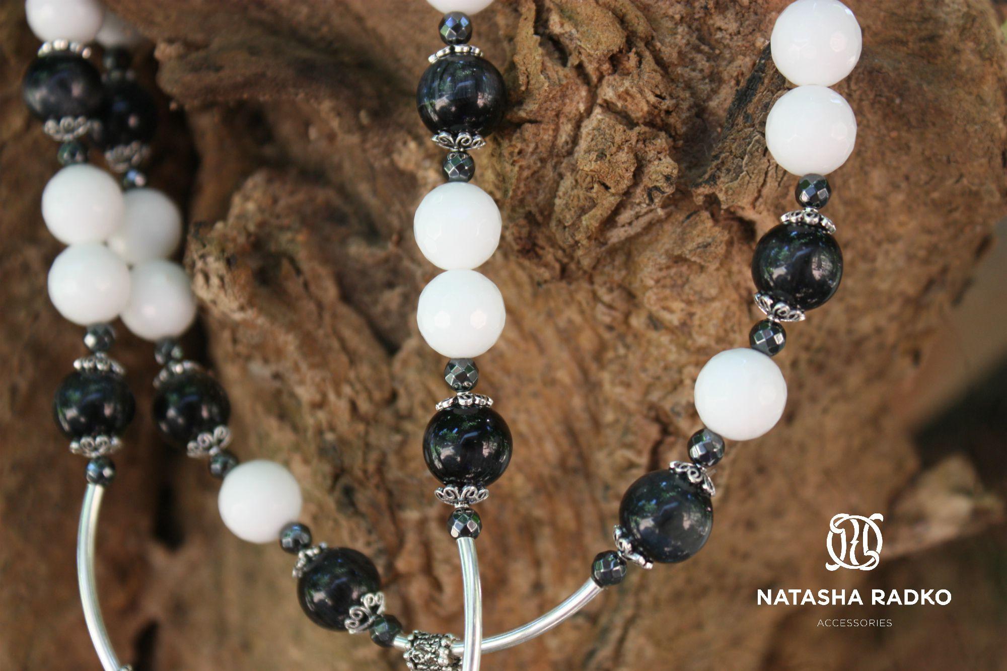 handmade set onyx agate jewelries white black