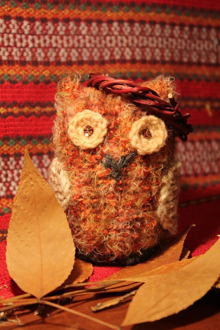 knit owls toys handmade