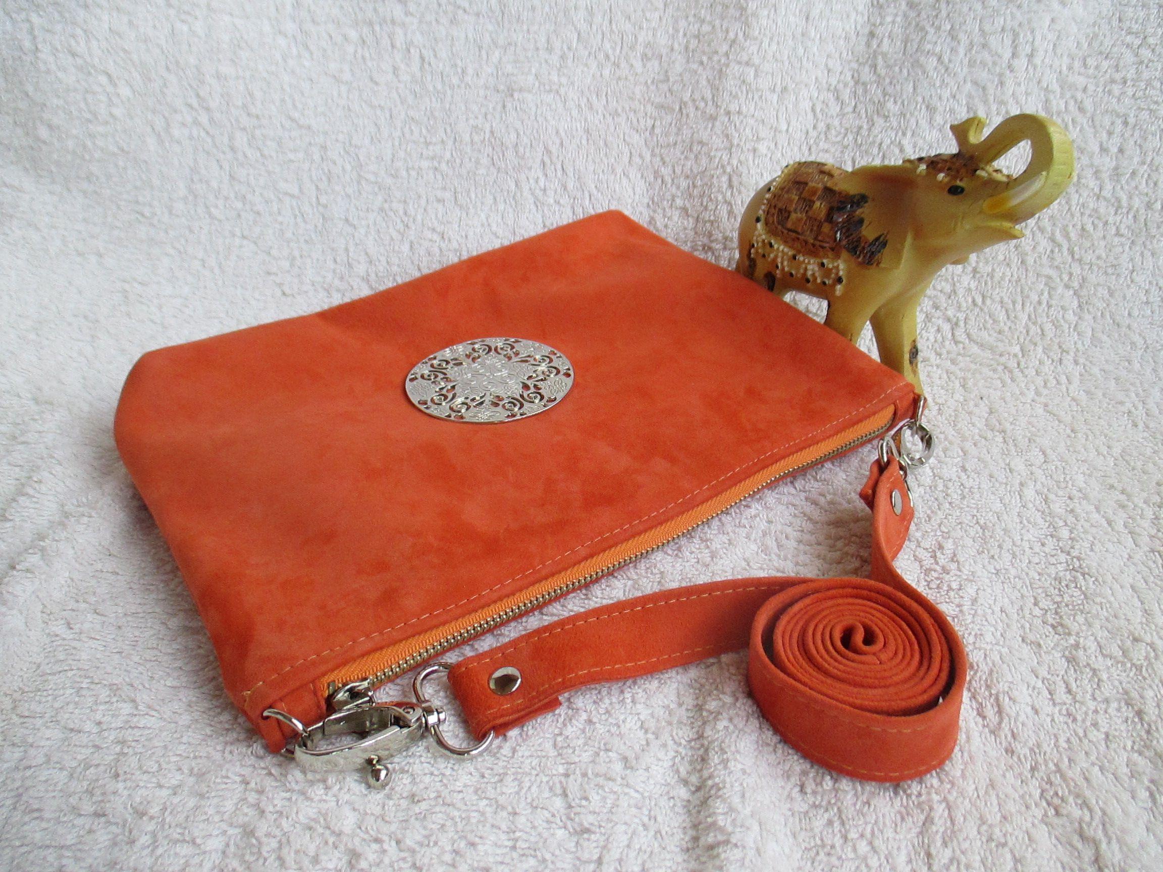 bag leather clutch accessories orange
