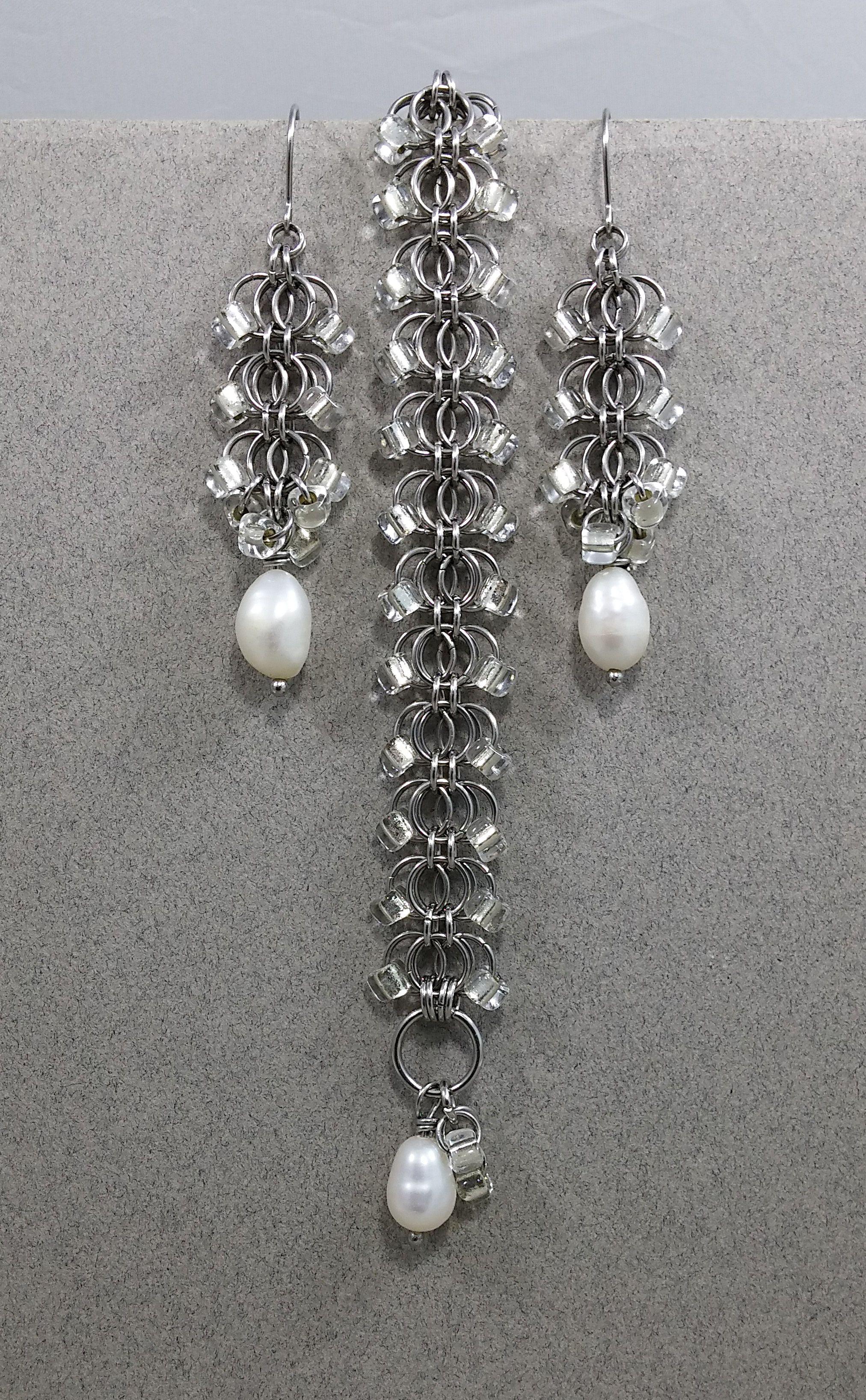 wedding earrings bracelet jewelry pearl chainmail eveningwear artisdanmade