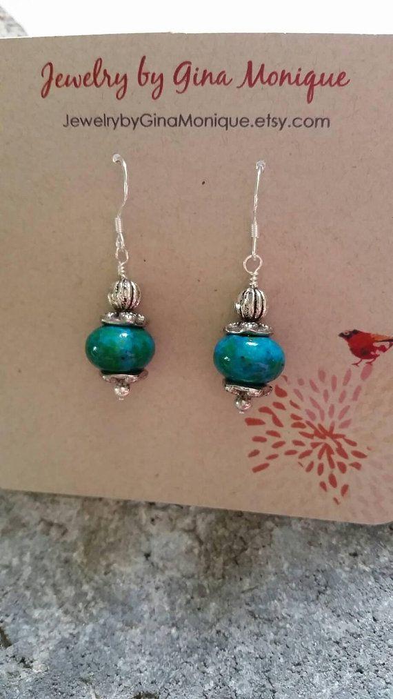 giftsforher bohostyle blueearrings naturaljewelry chrysocolla vintage sterlingsilver handmade