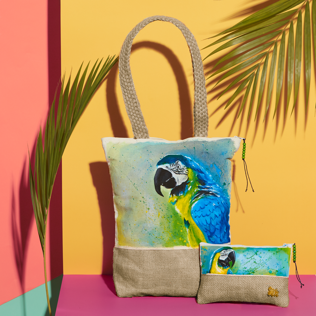 nature organic cotton handpainted totes birds bags fauna summer canvas handcrafted macaw pouches