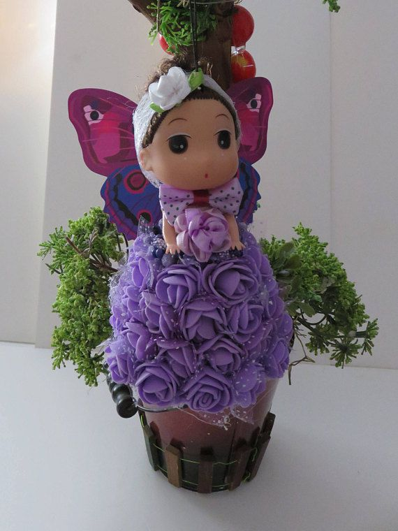 flowers doll angel christmas butterfly ornament gift purple bell