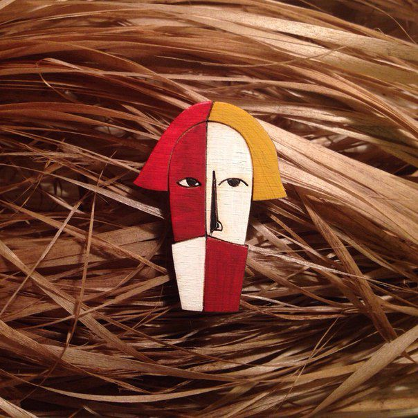 fashionwood brooch wooden malevich in