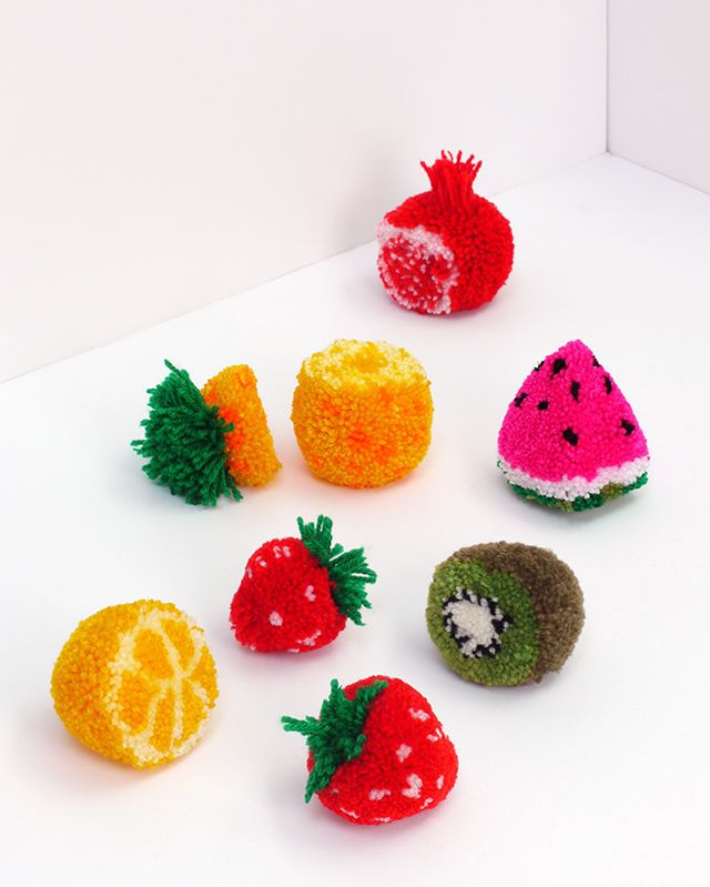 handmade cute bright beautiful fruits tutorial threads original idea project pompom diy