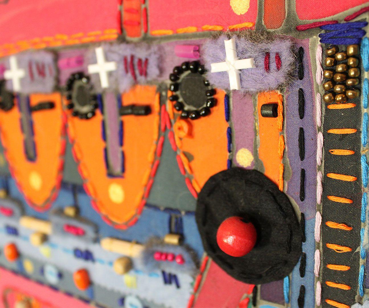 colorful techno interior ethno batik painting