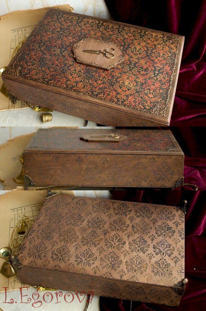 needlework box decoupage woman
