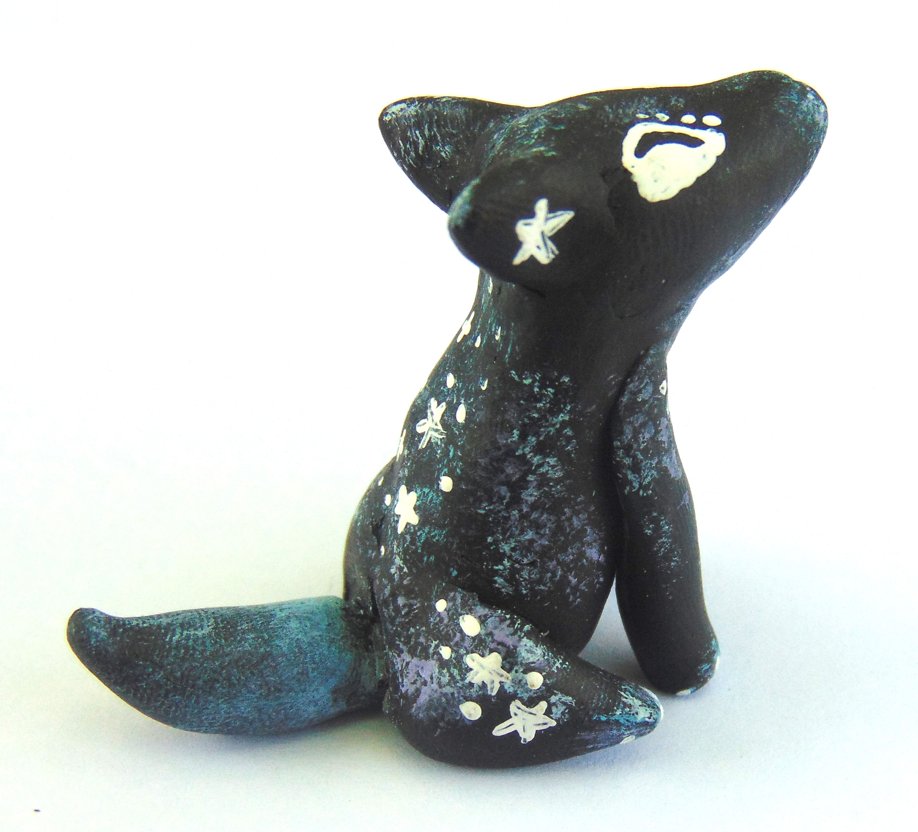 paints miniature galaxy stars howling painted sculpture wolf handmade polymer animal clay mini acrylic handcrafted sculpey