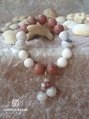 gift cacholong agate wristlet jewelry rhodonite silver