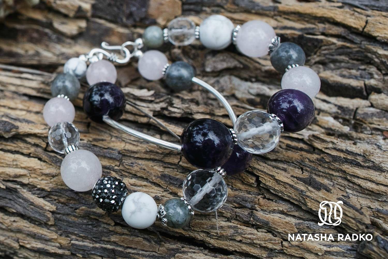 wristlet silver amethyst quartz labradorite cacholong jewelry
