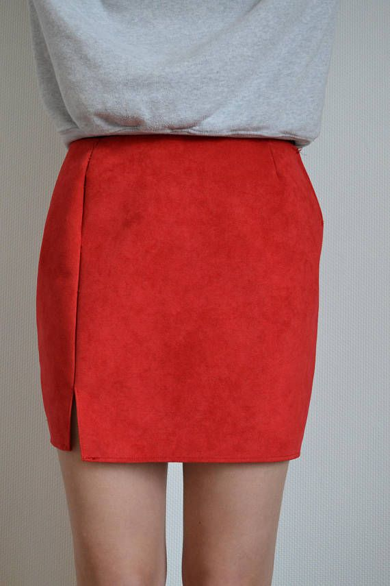 skirt partywear tight stiched slit chique mode sexy red woman modern classy party